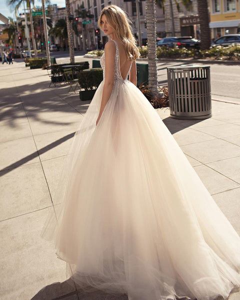 A Line V Neck Backless Beaded Tulle Prom Dresses, Ivory V Neck Backless Tulle Wedding Dresses, Evening Dresses Back