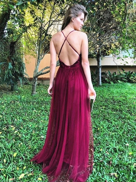 A Line V Neck Backless Burgundy Prom Dresses, Backless Burgundy Formal Evening Dresses