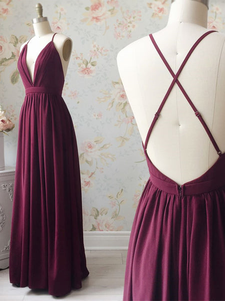 A Line V Neck Backless Burgundy Prom Dresses, V Neck Backless Burgundy Formal Bridesmaid Dresses