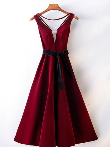 A Line V Neck Backless Burgundy Tea Length Prom Dresses, Tea Length Burgundy Backless Formal Graduation Evening Dresses