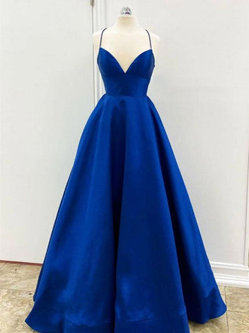 A Line V Neck Backless Royal Blue Satin Prom Dresses, Open Back Royal Blue Formal Evening Dresses