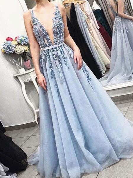 A Line V Neck Beaded Long Blue Prom Dresses, Blue V Neck Long Formal Graduation Dresses