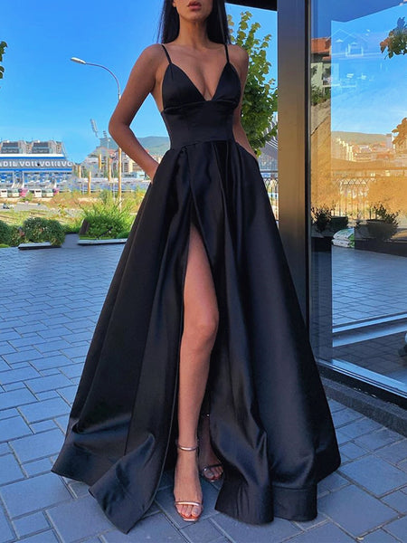 A Line V Neck Black Burgundy Prom Dresses, Black Wine Red Formal Evening Dresses