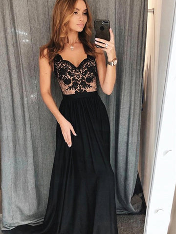 A Line V Neck Black Lace Prom Dress, Black Lace Formal Evening Dresses