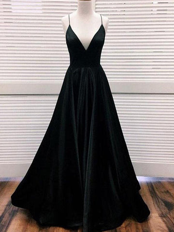 A Line V Neck Black Satin Prom Dresses Long, Black V Neck Satin Formal Graduation Evening Dresses