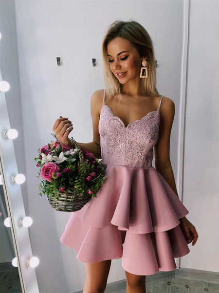 A Line V Neck Blush Pink Short Lace Prom Dresses, Short Blush Pink Lace Formal Graduation Homecoming Dresses
