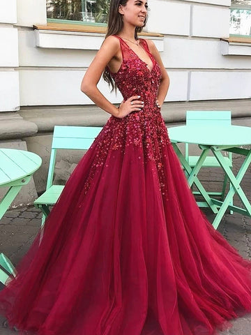 A Line V Neck Burgundy Beaded Prom Dresses, Wine Red V Neck Tulle Formal Evening Dresses