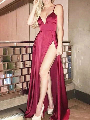A Line V Neck Burgundy Long Prom Dresses, Burgundy V Neck Formal Evening Graduation Dresses