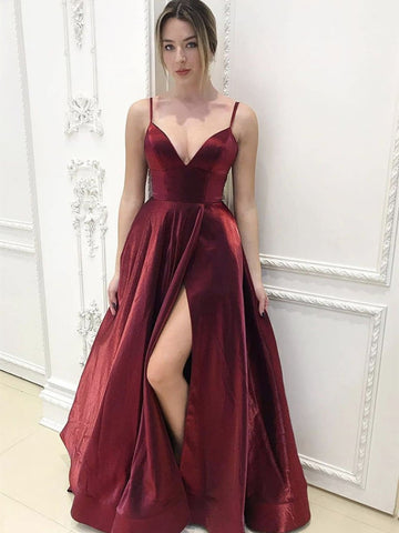A Line V Neck Burgundy Long Prom Dresses with Leg Slit, Wine Red Long Formal Evening Graduation Dresses