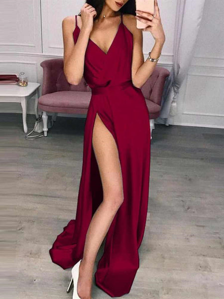 A Line V Neck Red/Burgundy/Blue Prom Dresses, V Neck Long Formal Graduation Evening Dresses