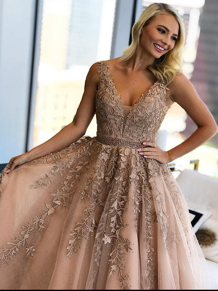 A Line V Neck Champagne Lace Prom Dresses, Champagne Lace Formal Graduation Wedding Dresses
