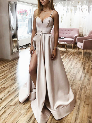 A Line V Neck Champagne Long Prom Dresses, Long Champagne Formal Graduation Evening Dresses