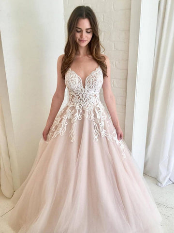 A Line V Neck Champagne Tulle Prom Dresses with White Lace, Long Lace Wedding Dress Formal Dresses