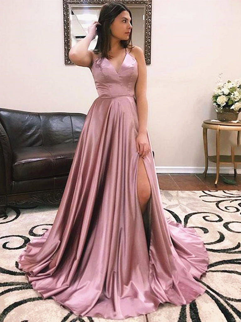 A Line V Neck Dusty Pink Prom Dresses with Corset Back, Dusty Pink Formal Evening Dress with Train