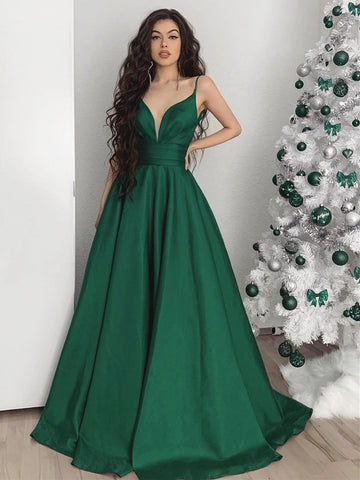 A Line V Neck Emerald Green Long Formal Dresses, Green V Neck Long Formal Evening Dresses