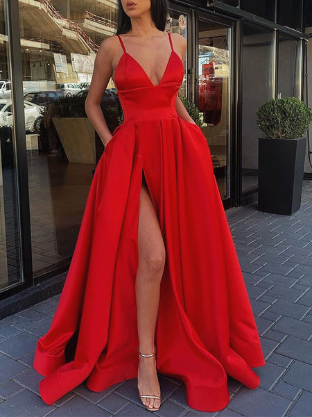 A Line V Neck Gray Red Pink Prom Dresses, Gray Pink Red Formal Evening Dresses