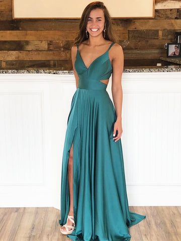 A Line V Neck Green Prom Dresses, V Neck Green Formal Evening Bridesmaid Dresses