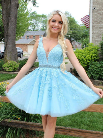 A Line V Neck Ice Blue Short Lace Prom Dress, Ice Blue Short Lace Homecoming Graduation Dresses