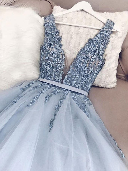 A Line V Neck Light Blue Beaded Tulle Prom Dresses Long, V Neck Long Blue Formal Evening Dresses