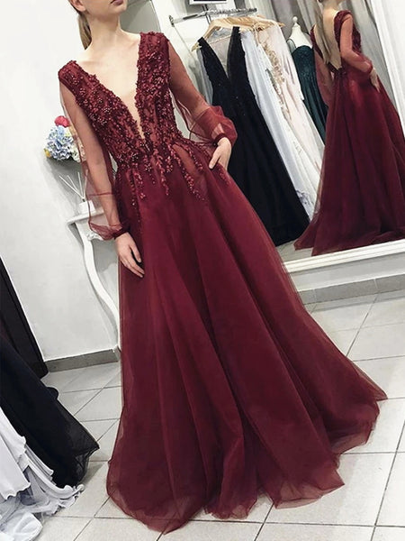 A Line V Neck Long Sleeves Burgundy Lace Prom Dresses, Long Sleeves Burgundy Lace Formal Evening Dresses