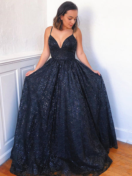 A Line V Neck Navy Blue Lace Prom Dresses, Dark Blue Lace Formal Evening Dresses