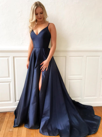 A Line V Neck Navy Blue Long Prom Dresses, Navy Blue Long Formal Graduation Evening Dresses