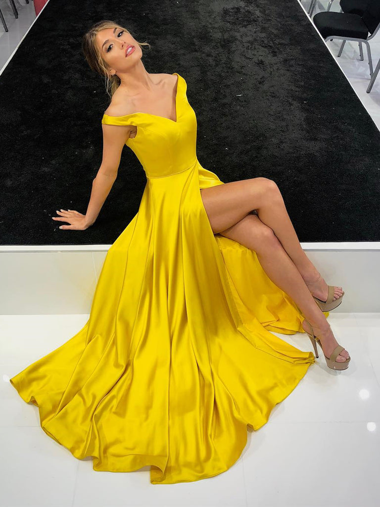 c67d2eb14276 A Line V Neck Off Shoulder Yellow Prom Dress with Leg Slit