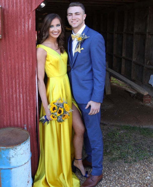 A Line V Neck Off Shoulder Yellow Prom Dress with Leg Slit, Yellow Long Graduation Evening Dresses