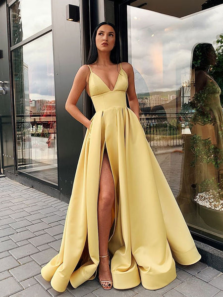 A Line V Neck Open Back Yellow Prom Dress with Leg Slit, Yellow V Neck High Slit Formal Graduation Dresses
