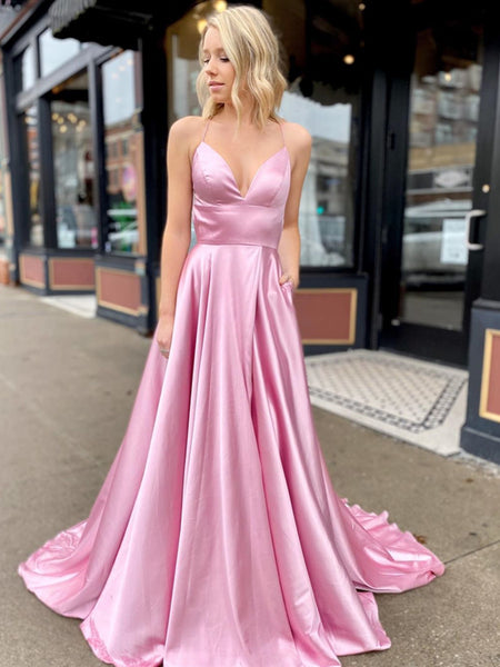 A Line V Neck Pink Backless Long Prom Dress, Pink Open Back Fomal Graduation Evening Dresses