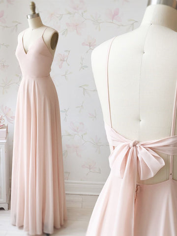 A Line V Neck Pink Backless Long Prom Dresses, Pink Long Backless Evening Graduation Formal Dresses