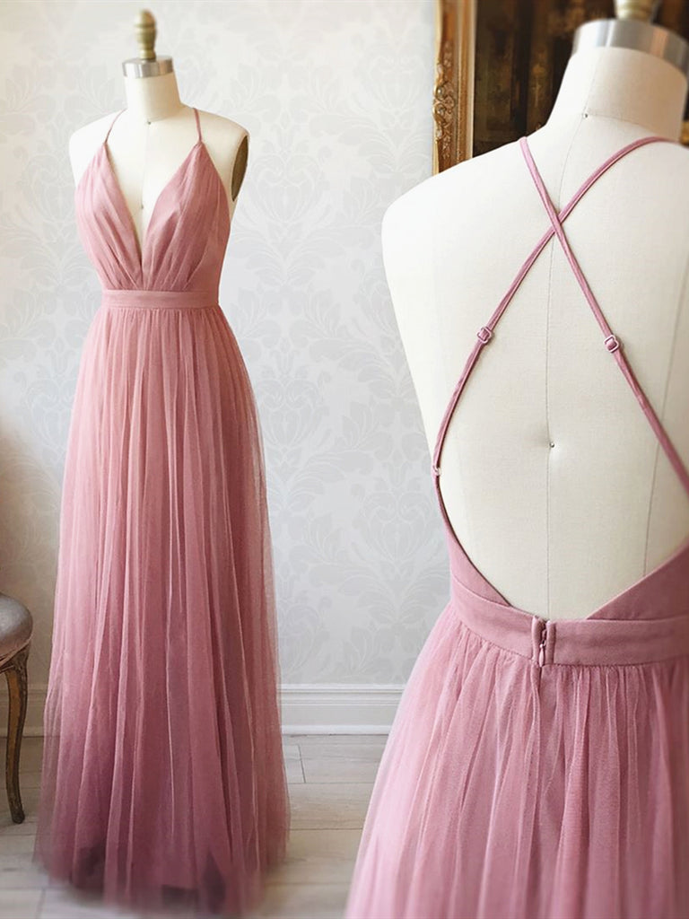 A Line V Neck Pink Backless Prom Dresses, V Neck Pink Backless Formal Evening Bridesmaid Dresses