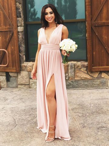 A Line V Neck Pink Chiffon Prom Dresses, Pink Long Formal Evening Bridesmaid Dresses