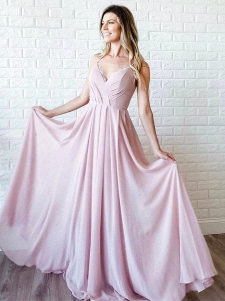 A Line V Neck Pink Lace Prom Dresses, Pink Lace Formal Evening Dresses
