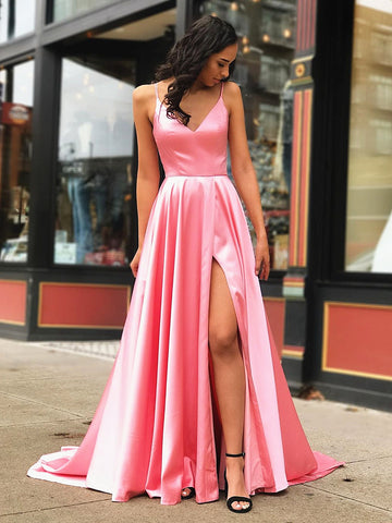 A Line V Neck Pink Long Prom Dress with Leg Slit, Pink Long Formal Graduation Evening Dresses