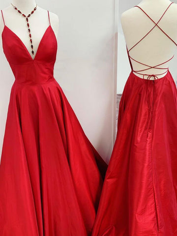 A Line V Neck Red Backless Long Prom Dresses, Open Back Red Long Formal Evening Dresses