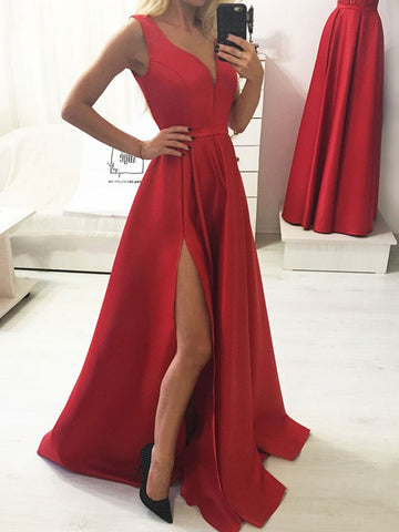 A Line V Neck Red Long Prom Dresses with Leg Slit, Red V Neck Formal Graduation Evening Dresses