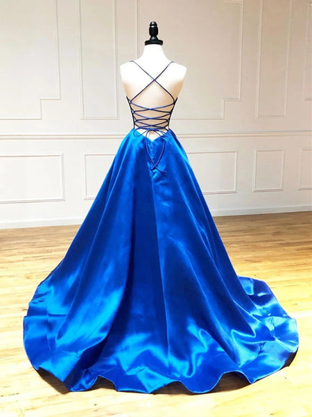 A Line V Neck Royal Blue Backless Prom Dresses, Open Back Royal Blue Formal Evening Graduation Dresses