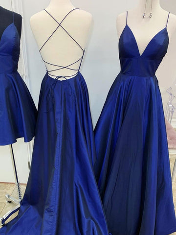 A Line V Neck Royal Blue Backless Prom Dresses, Royal Blue Backless Formal Evening Bridesmaid Dresses