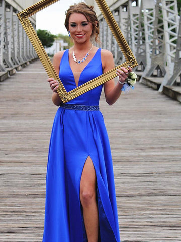 A Line V Neck Royal Blue Prom Dresses with Leg Slit, V Neck Royal Blue Formal Graduation Evening Dresses