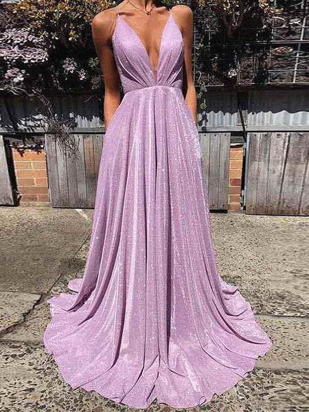A Line V Neck Shiny Purple Prom Dresses, Shiny Purple Backless Formal Evening Dresses
