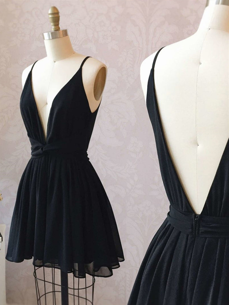 A Line V Neck Short Black Prom Dresses, Short Black Backless Homecoming Formal Dresses
