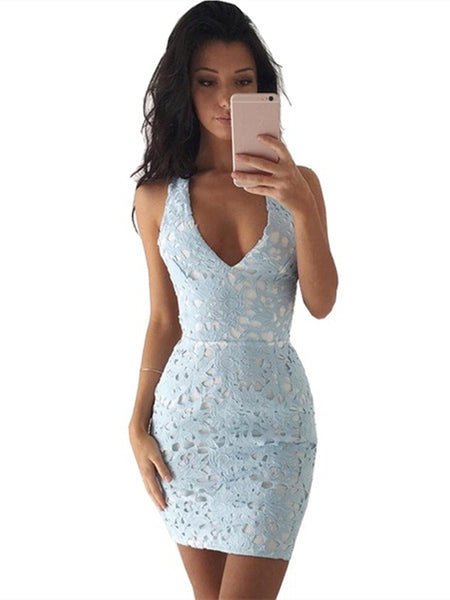 A Line V Neck Short Blue/Champagne Lace Prom Dresses, Short Lace Formal Graduation Evening Dresses
