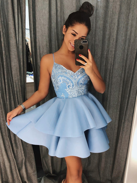 A Line V Neck Short Blue Gray Lace Prom Dresses, Short Lace Formal Homecoming Graduation Dresses