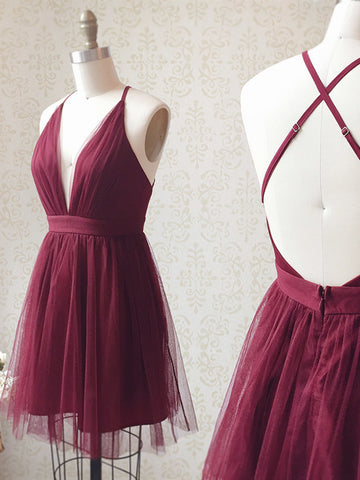 A Line V Neck Short Burgundy Backless Prom Dresses, Short Burgundy Backless Formal Homecoming Dresses