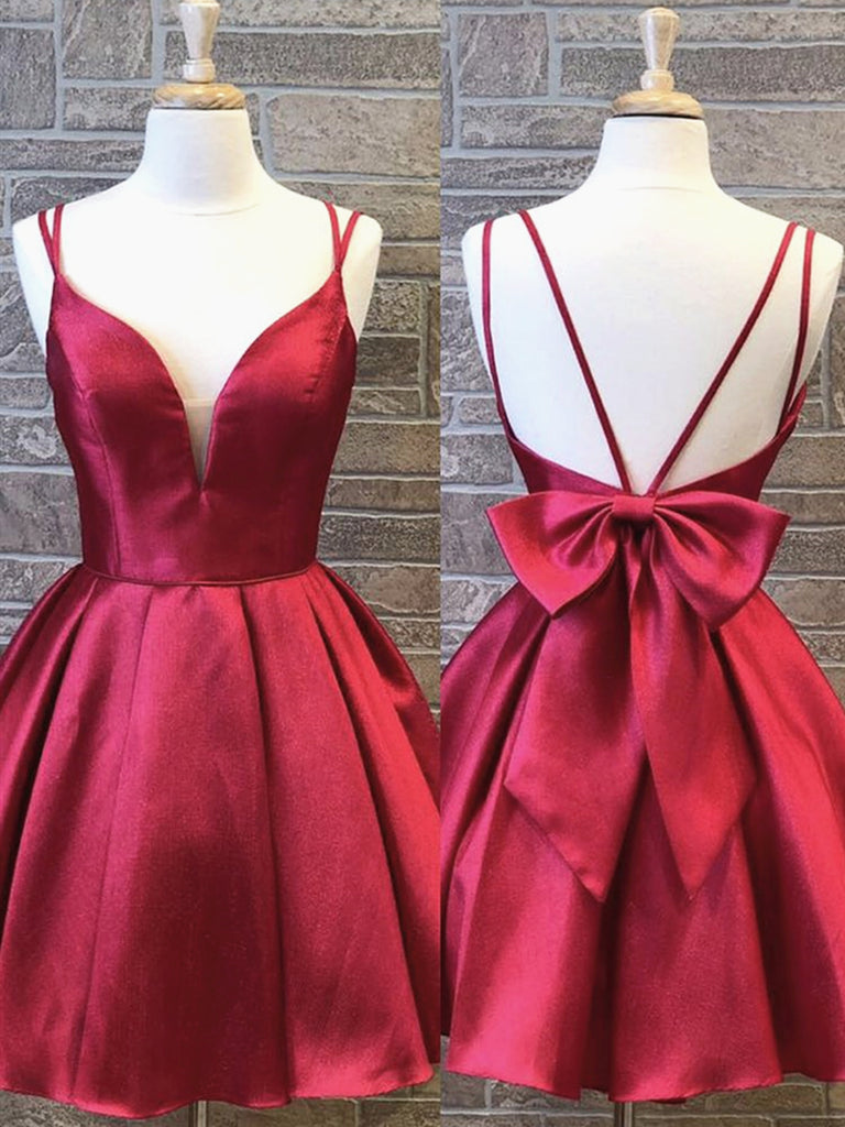 A Line V Neck Short Burgundy Prom Dresses, Short Burgundy Formal Homecoming Graduation Dresses