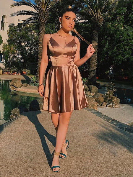 A Line V Neck Short Champagne Prom Dresses, Short Champagne Graduation Homecoming Dresses