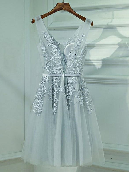 A Line V Neck Short Gray Lace Prom Dresses, Short Gray Lace Formal Homecoming Dresses