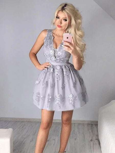 A Line V Neck Short Gray Lace Prom Dresses, Short Gray Lace Formal Homecoming Graduation Dresses