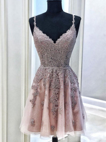 A Line V Neck Short Lace Prom Dresses, Short V Neck Lace Formal Homecoming Cocktail Dresses